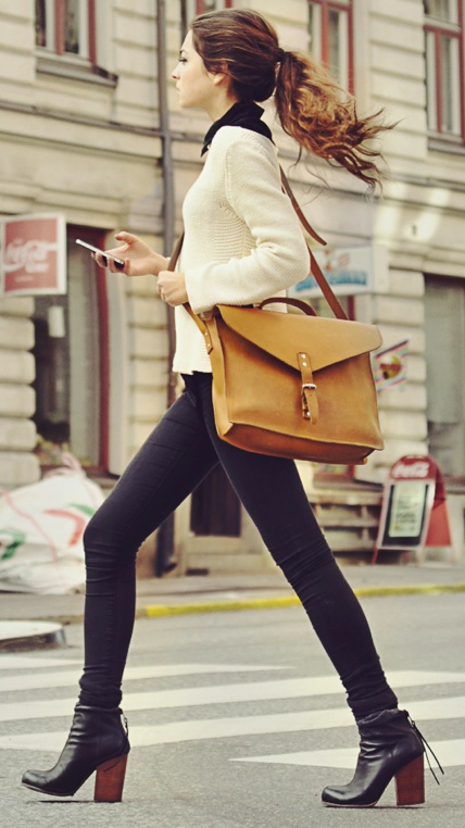 The message is clear: Over the shoulder bags are both polished and profressional