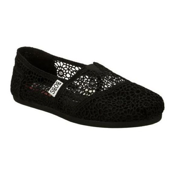 Black Crochet Lace Bobs Slip-Ons Black lace Bobs shoes. Very good condition, only worn a few times. Bobs Shoes Flats & Loafers