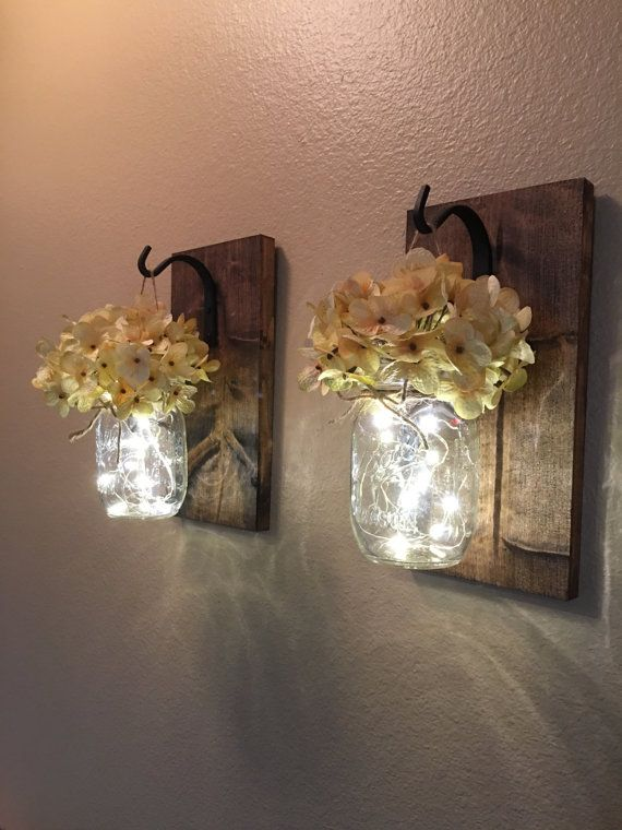 Set of 2 Hanging Mason Jar Sconces, Hydrangea Flowers, Mason Jar Sconce, Mason Jar Decor, Home Decor, Housewarming Gift, Lighted Mason Jars