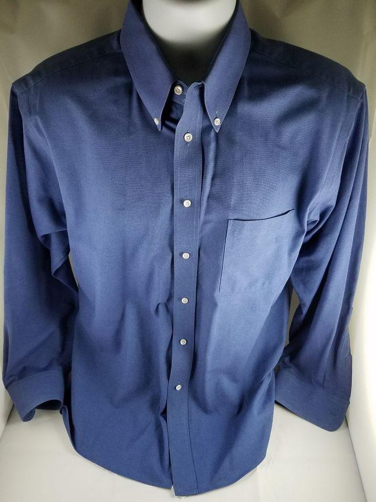 Mens ARROW COMPANY Wrinkle Free Oxford Blue Long Sleeve Dress Shirt 16 1/2 32/33 #ArrowCompany #ButtonUp