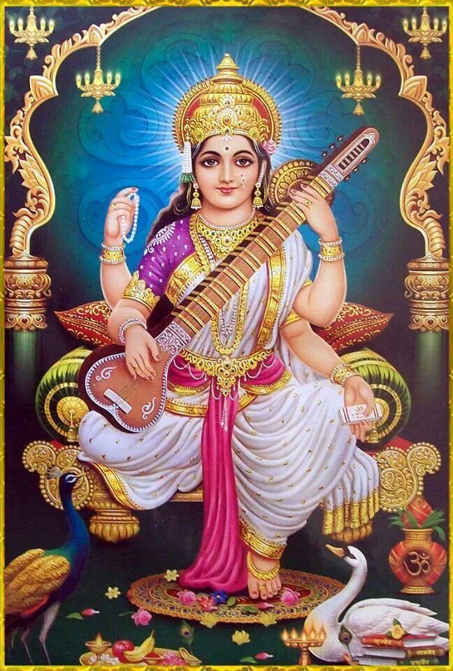 Saraswati Maa. Artist: Yogendra Rastogi.