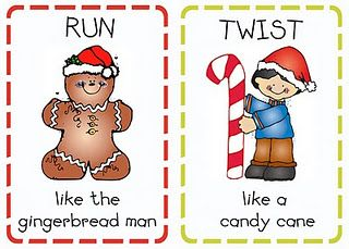 Christmas Action Cards: send document to photo printer, or print on cardstock. Let the kids get their wiggles out by drawing different cards.