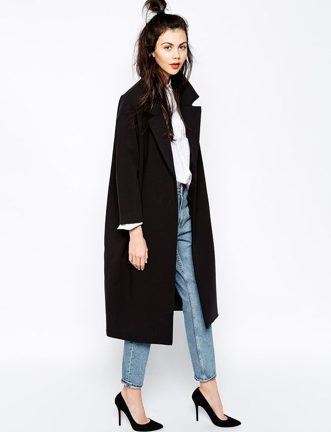 Black coat, jeans, white tee, half up bun, and black heels | winter outfit inspo