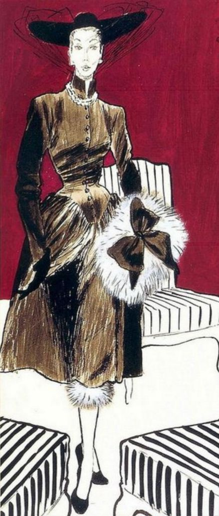 Fashion Illustration by René Gruau (1909-2004), 1955, Fashion by Robert Piguet, detail, 'L'Officiel' Magazine, France.