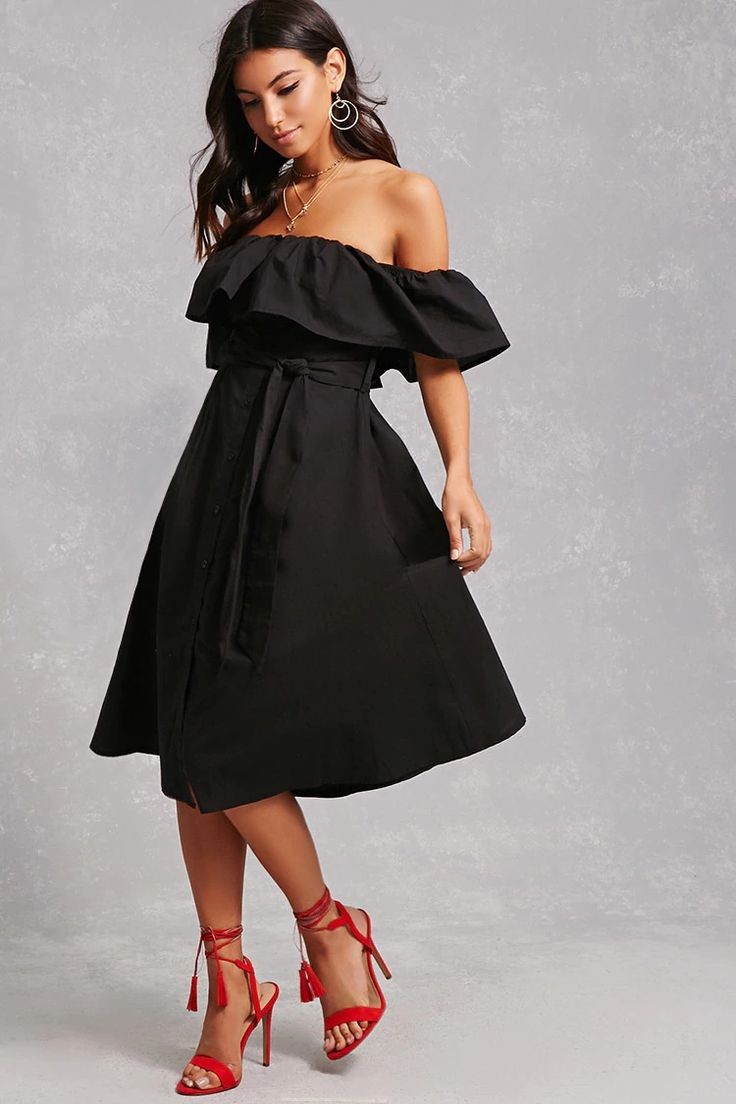 A cotton midi dress featuring an elasticized off-the-shoulder neckline, a flounce layer draping into short sleeves, button-up front, smocked back, an attached self-tie sash belt, on-seam slip pockets, and a flowy silhouette.