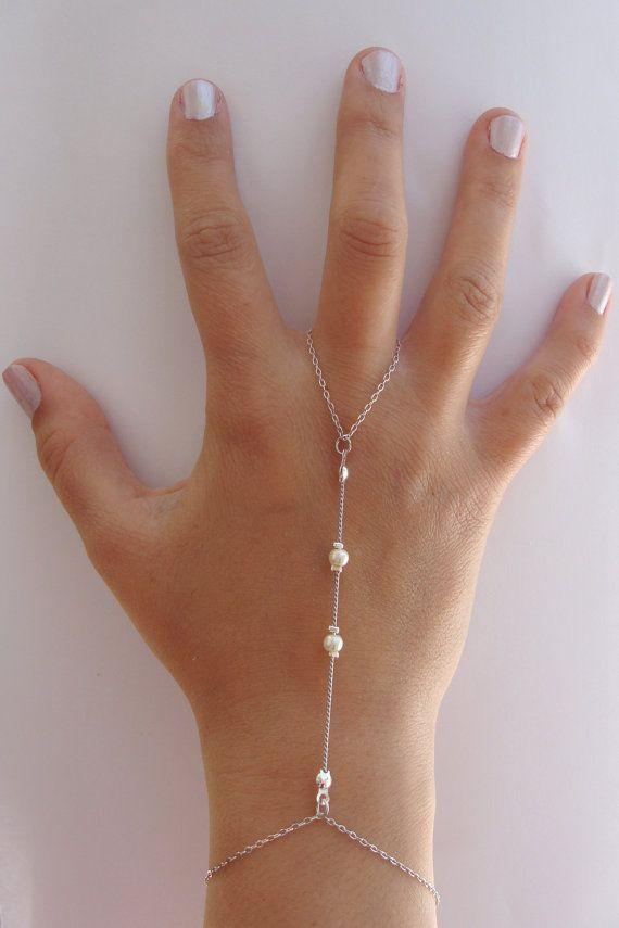 Silver Slave Bracelet, ring connected to bracelet, Hand Flower Bracelet, Harem bracelet, Belly Dancers Bracelet, Finger Bracelet