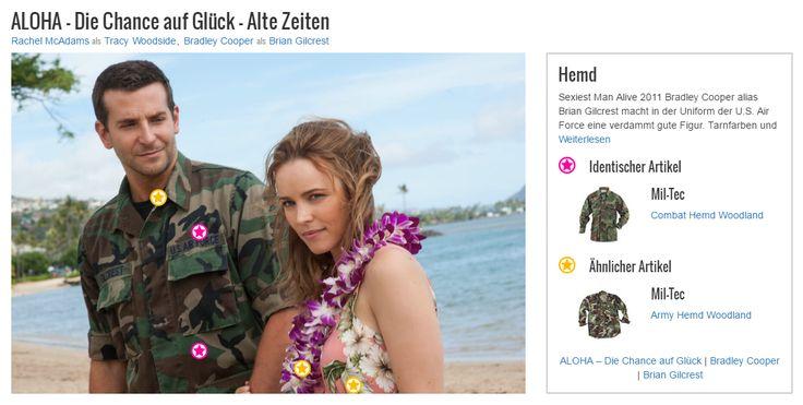 Sexiest Man Alive 2011 Bradley Cooper alias Brian Gilcrest macht in der Uniform der U.S. Air Force eine verdammt gute Figur. Tarnfarben und Camouflage tun dem keinen Abbruch, im Gegenteil: Das Feldhemd mit den aufgesetzten Taschen im Brust-und Bundbereich lässt ihn wie einen richtigen Abenteurer aussehen. Das seine Uniform außerdem als Outfit gut geeignet ist, um Frauen zu beeindrucken, ist ein angenehmer Nebeneffekt des Looks. Und so ein Namensschild kann ja auch hilfreich sein, vor allem…