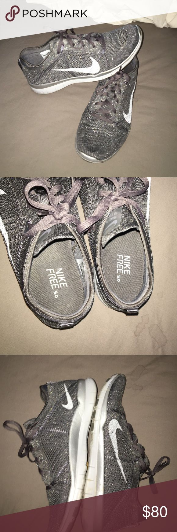 Nike free 5.0 flynit running shoes Got these from the Nike outlet store. Have only been worn once. Super cute light weight shoes. Grey with silver sparkles. Amazing condition Nike Shoes Athletic Shoes