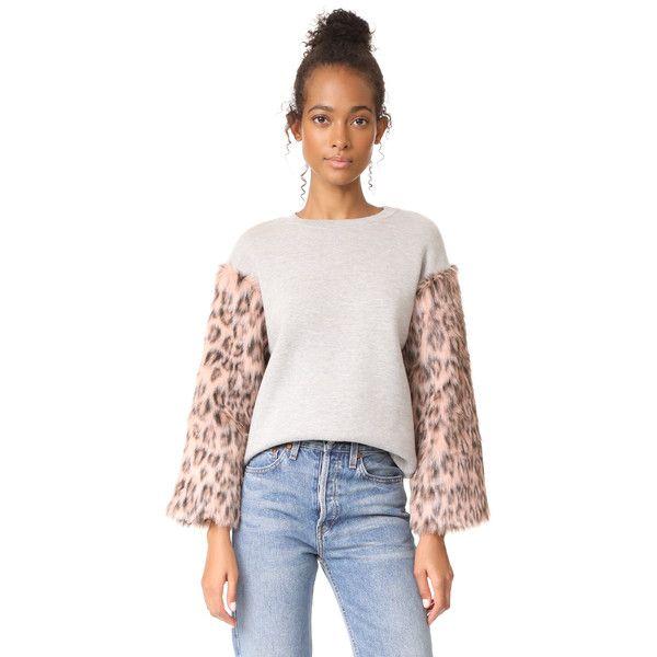 Clu Clu Too Faux Fur Sleeve Sweatshirt ($257) ❤ liked on Polyvore featuring tops, hoodies and sweatshirts