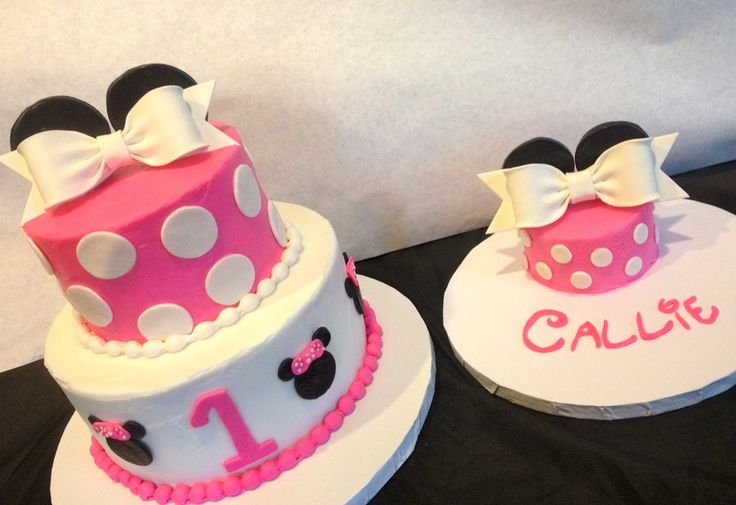 minnie mouse smash cake   Minnie Mouse and Mini Minnie — Children's Birthday Cakes
