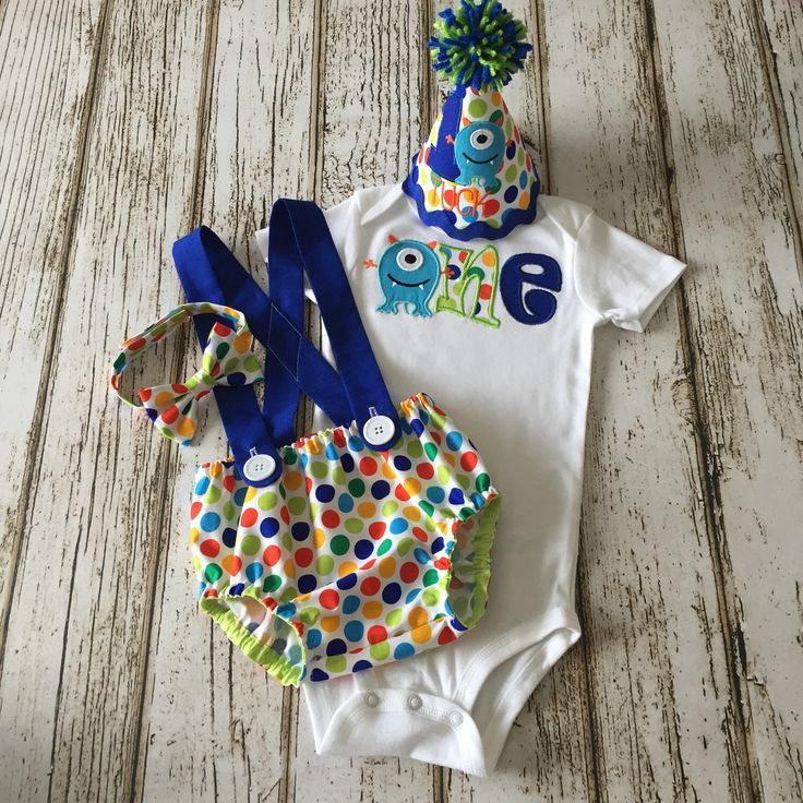 Monster First Birthday Boy Outfit - Onesie, Diaper Cover, Suspenders, Party Hat, Bow Tie, Tie - Cake Smash Outfit - Green, Blue, Orange Dot by Polkadotologie on Etsy https://www.etsy.com/listing/278077644/monster-first-birthday-boy-outfit-onesie