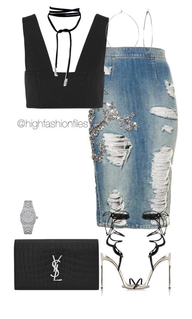 """""""Mindcraft"""" by highfashionfiles on Polyvore featuring T By Alexander Wang, Phyllis + Rosie, Yves Saint Laurent and Audemars Piguet"""