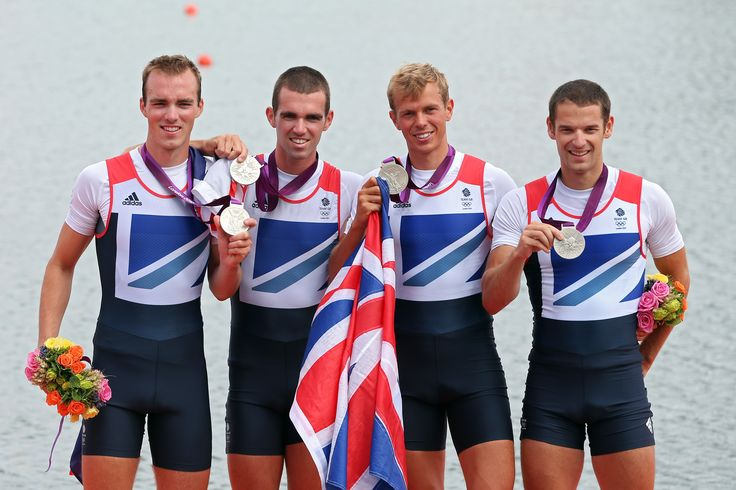 Peter Chambers, Rob Williams, Richard Chambers, Chris Bartley on the podium after winning silver in rowing at London 2012