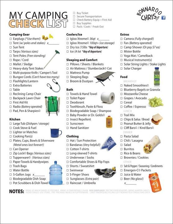 handy-dandy festival checklist, now I just need for a baby too:)
