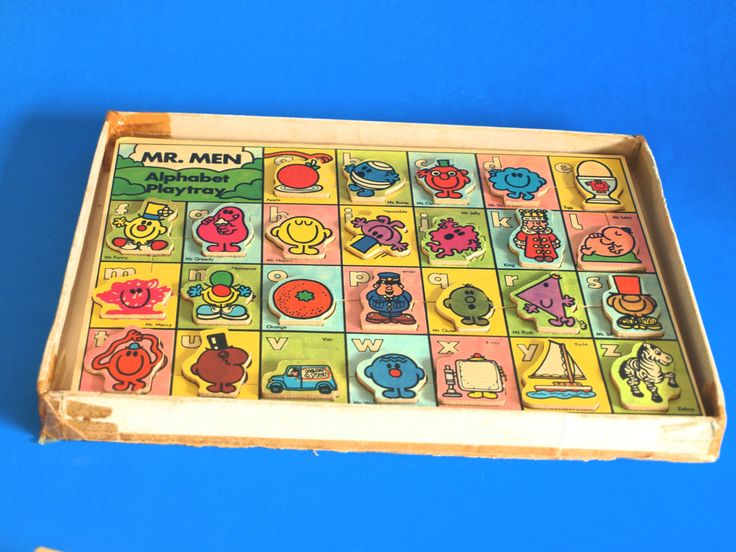 Vintage Mr Men Alphabet Playtray - 1978 Mr Happy Mr Tickle Mr Funny Wooden Wood Puzzle Learning ABC Game - Collectable - Made in England by FunkyKoala on Etsy