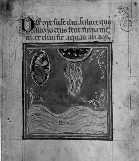♕ℛ. Guido di Graziano, 1290 ca. Tractatum de creatione mundi - Creazione del firmamento e separazione delle acque. Siena, Italia. Biblioteca Comunale degli Intronati