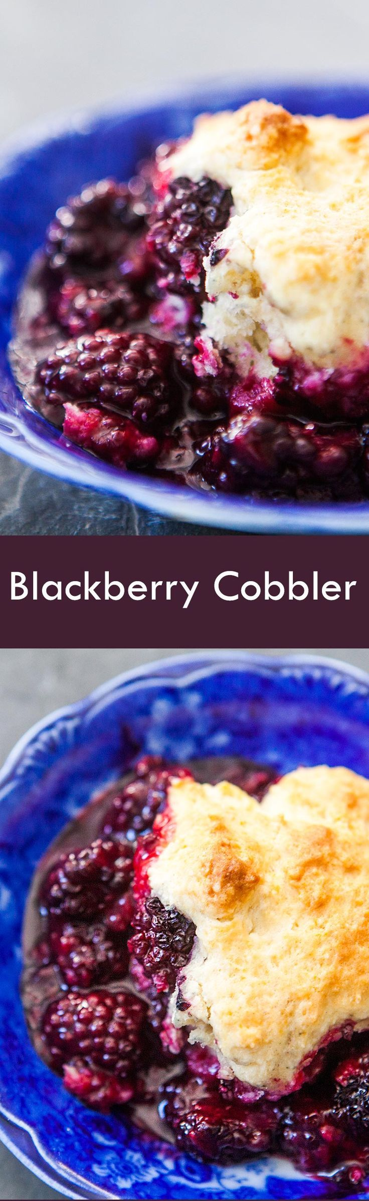 Blackberry cobbler! with fresh blackberries and topped with a homemade biscuity cobbler topping. Quick and easy dessert on SimplyRecipes.com