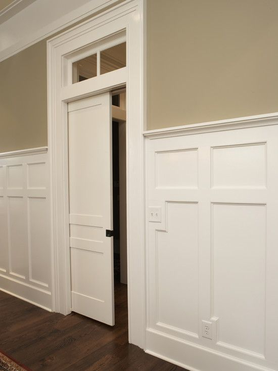 Wall color and wainscoting for den patti pinterest for Pocket door ideas
