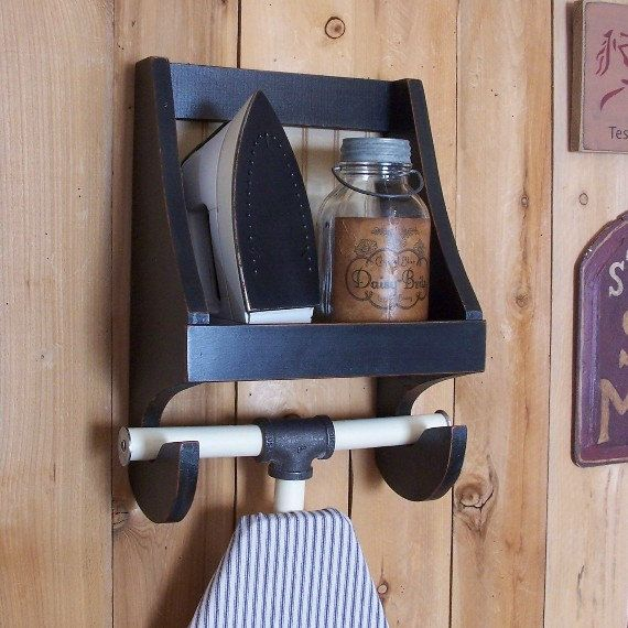 Primitive Ironing Board Holder for the Laundry Room Farmhouse Cubby Shelf Storage / Lamp Black / Color Choice