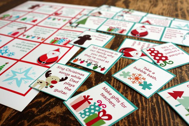 Free printable advent calendar activities by Wendy Copley, via Flickr Bright and Cheery colors, square shape