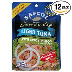 SAFCOL Gourmet on the Go Chunk Light Tuna with Spicy Onion in Spring Water, 3.5-Ounce Pouches (Pack of 12)