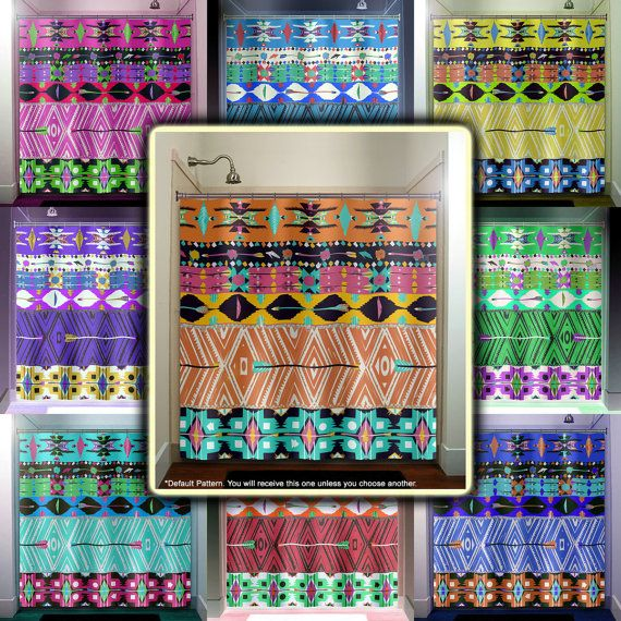 This bathroom native tribal aztec american southwestern shower curtain is sure to bring life into any adult or kids bathroom decor.  Designs and colors can be changed and personalized to create your custom curtain with your own names, text, graphics or design ideas. To choose colors from the variations shown in the photos or from our color chart, simply include a clear and specific note during checkout.  Shower Curtains come in Standard Size 70W x 71H or Extra Tall 70W x 90H. Matching…