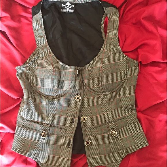 LIP SERVICE Grandpa Plaids vest #46-400