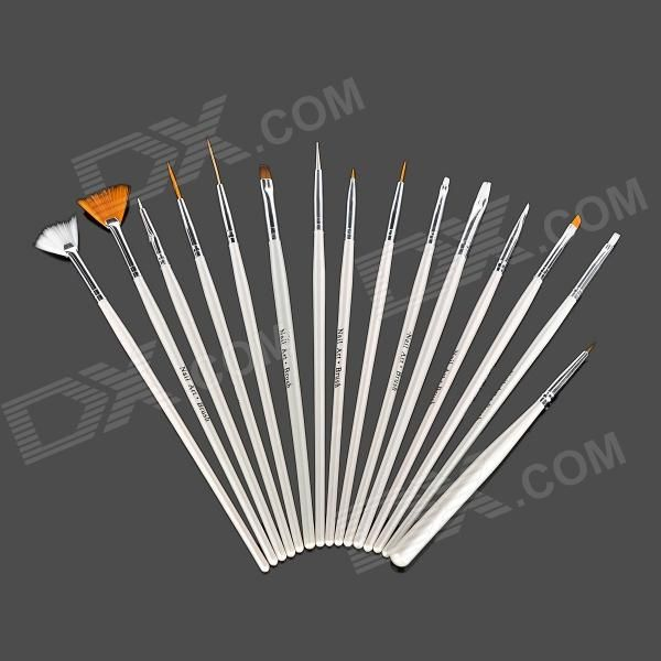 Color: White - Quantity: 1 - Material: Fiber - Light weight and ultra-thin brush head, they can help drawn any patterns on your nail. - 15 different size and shape brush for your choice. - Professional and portable - Great to DIY your nail art at home. http://j.mp/1leLjae