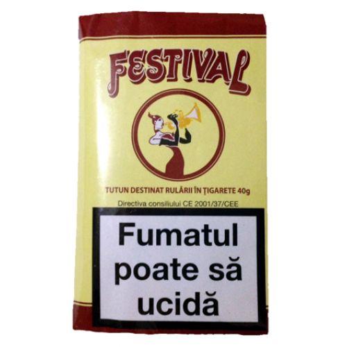 Tutun Festival 40 gr  Din categoria produselor din tutun ambalate la plic, tutunul Festival 40 gr are cel mai avantajos pret.  Acest tutun se preteaza a fi injectat in tuburi de tigari sau rulat.Acest produs se adreseaza exclusiv persoanelor peste 18 ani ! Fumatul dauneaza grav sanatatii tale si a celor din jur. Directiva consiliului CE 2001/37/CEE