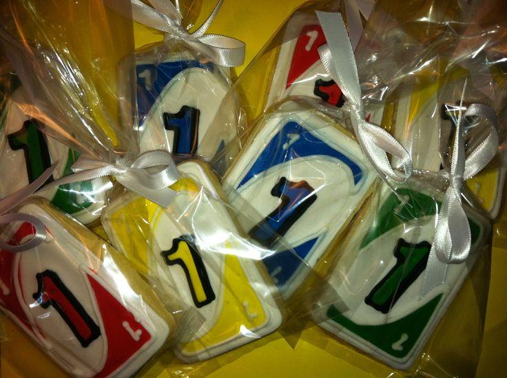 UNO 1st birthday cookies