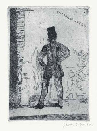 James Ensor. Hombre orinando en una pared (1887).