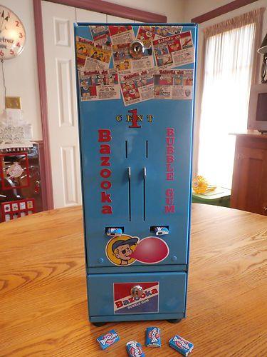 ANTIQUE VINTAGE 1 cent BAZOOKA JOE BUBBLE GUM VENDING MACHINE - COIN-OP | eBay