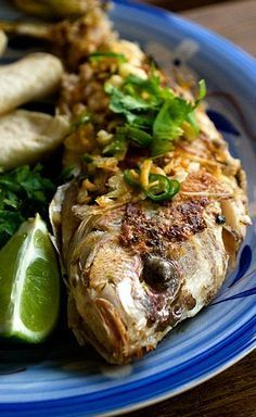 PAN-FRIED WHOLE YELLOWTAIL SNAPPER with COCONUT, CHILE, GARLIC & LIME [Carribean] [spiciefoodie]