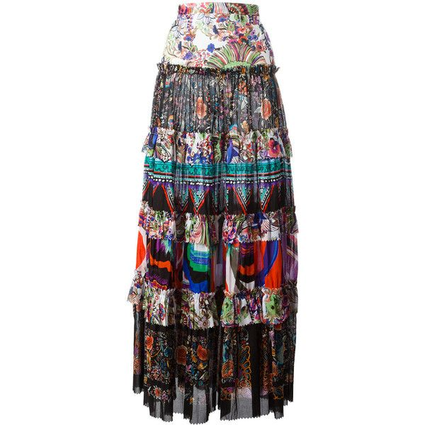 Roberto Cavalli enchanted garden tiered maxi skirt (32.385 ARS) ❤ liked on Polyvore featuring skirts, maxi skirt, cotton tiered maxi skirt, cotton maxi skirt, long colorful skirts and roberto cavalli skirt