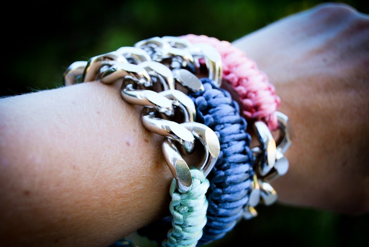 Handmade macrame bracelets with silver chain