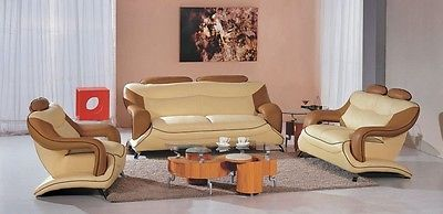 7055 Modern Cream and Camel leather living room set