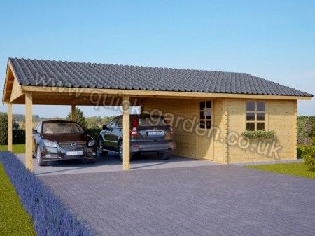 Car port Double+shed,  6m x 7.5m (20' x 25') 44mm
