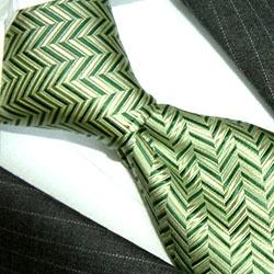 84124 Lorenzo Cana Silk Ties Krawatten GRÜN Fischgrat |