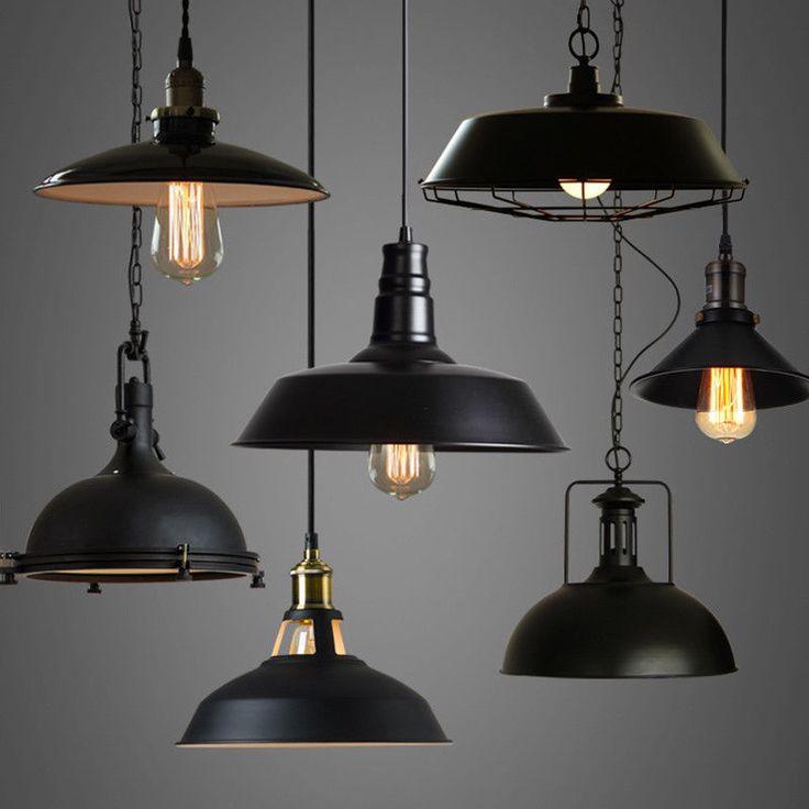 Details about industrial loft warehouse barn pendant lamp - Exterior industrial light fixtures ...