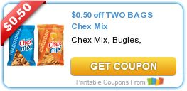 Tri Cities On A Dime: SAVE $0.50 ON 2 BAGS CHEX MIX