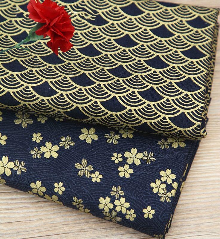 זול יפני פריחת דובדבן בד כותנה מד גל רטרו לשטוף זהב תפירת מצעים טקסטיל Telas…