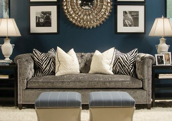 Navy living room with gray sofa i like this with pops of for Black and grey couch