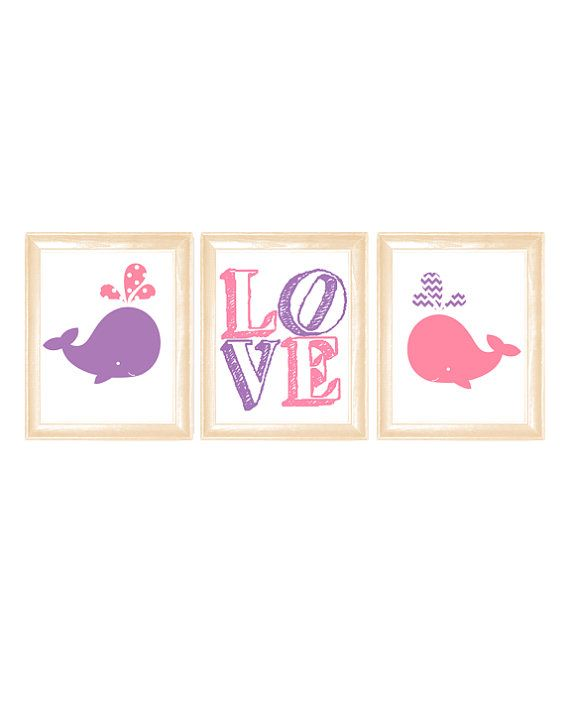 Baby Whale nursery wall art, pink and purple nursery wall decor, LOVE wall art, subway wall art on Etsy, $18.00