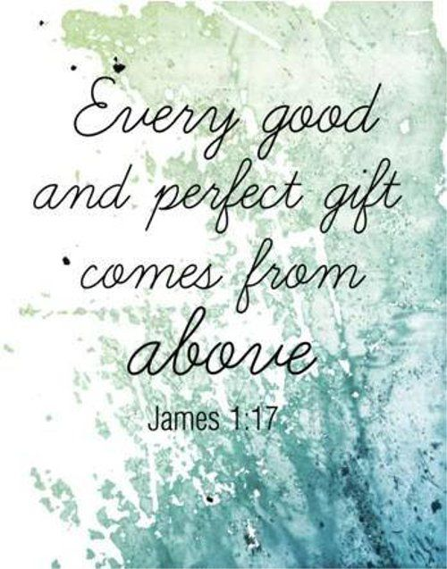 """James 1:17 (NIV),  """"Every good and perfect gift is from above, coming down from the Father of the heavenly lights, Who does not change like shifting shadows."""