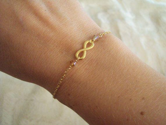 Swarovski crystal and eternity symbol slim bracelet with gold filled chain