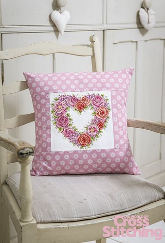 Say it with flowers – in cross stitches. #SusanBates beautiful, detail-rich pattern is in the new issue, 215, of The World of Cross Stitching magazine