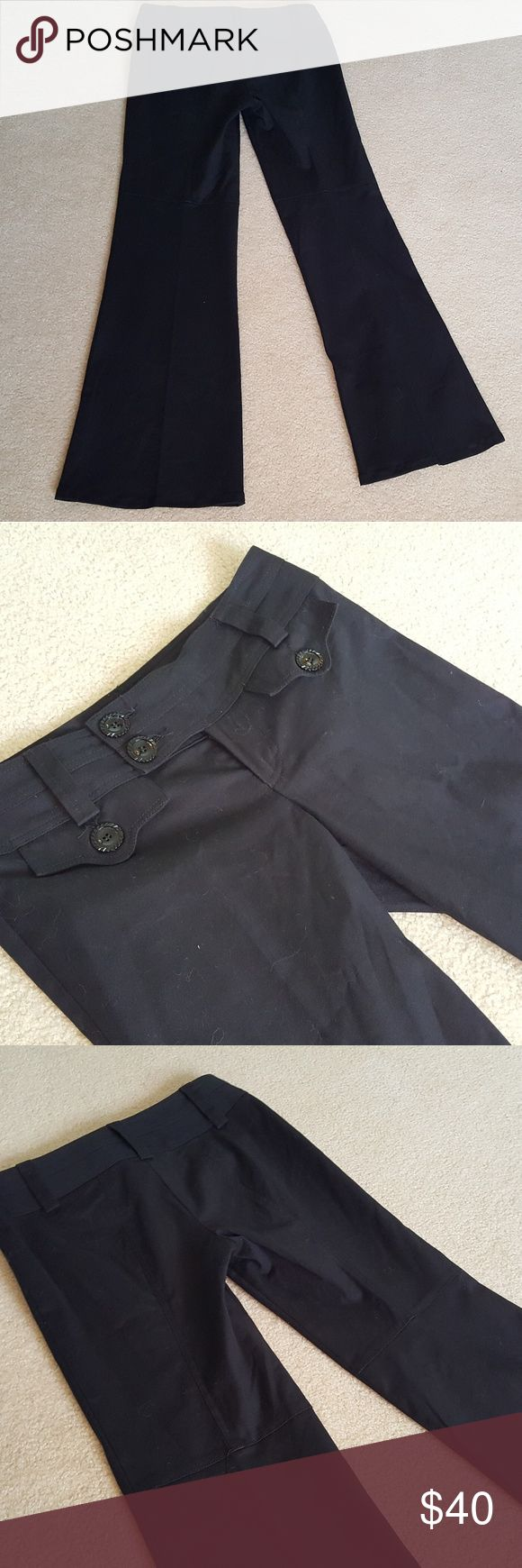 """Nanette Lepore Dark Navy Blue Dress Pants 6 These gorgeous navy blue dress pants feature unique pocket and button detail. They are in very good pre-owned condition with only minimal wear. Size 6, approximately a 32"""" inseam. Nanette Lepore Pants Trousers"""