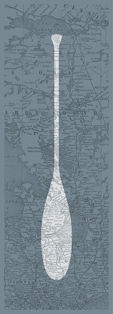 Simple paddle art poster with an authentic antique map background from 1902 featuring the Muskoka region. Great gift idea for men, or decoration for a condo, apartment or man-cave!
