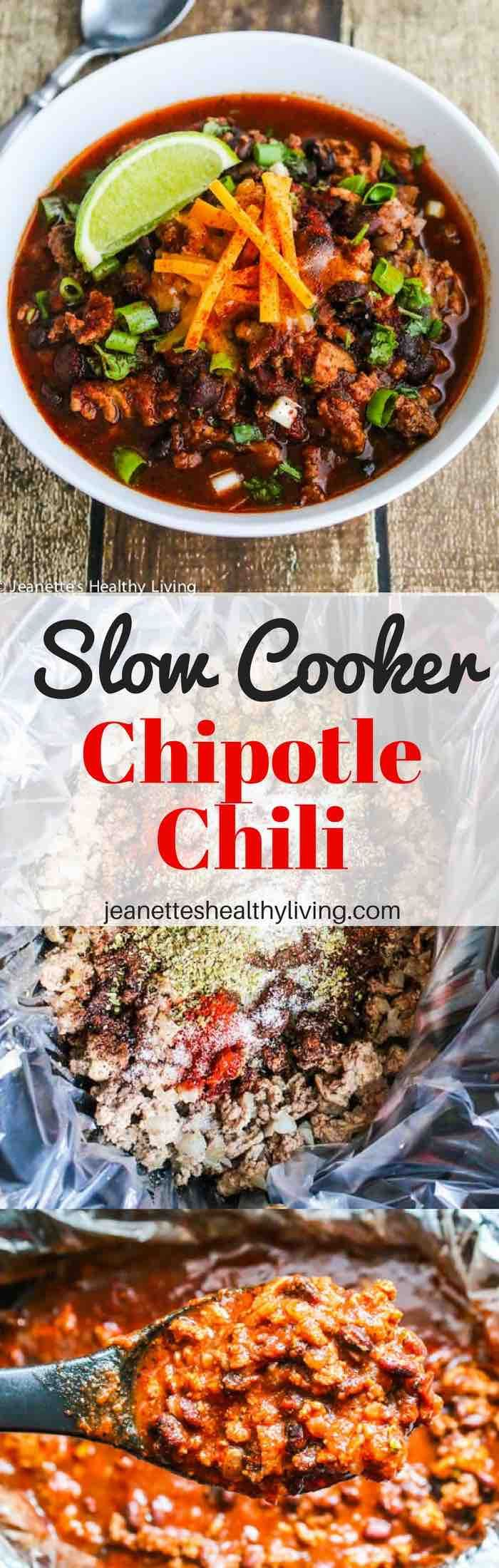 Slow Cooker Chipotle Chili - smoky and delicious, this chili recipe is perfect for busy weeknights, lazy weekends and Game Day entertaining.