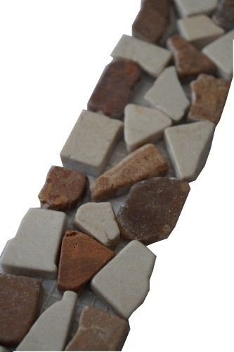 Mozaïek tegelstrips marmer 5x25 cm | Marmersoort: Onyx, Crema Marfil | Kleur: Bruin / creme / beige | Geschikt voor badkamer, toilet, douche, keuken, woonkamer, slaapkamer, hal | Topmozaïek24